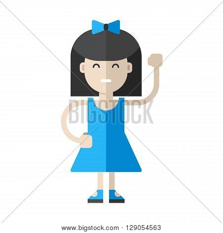 Young girl in blue dress. Flat vector illustration isolated on white background