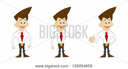 Man mascot (sharp style). Guy in a shirt, red tie and pants. Businessman, manager, presentation. Green eyes.