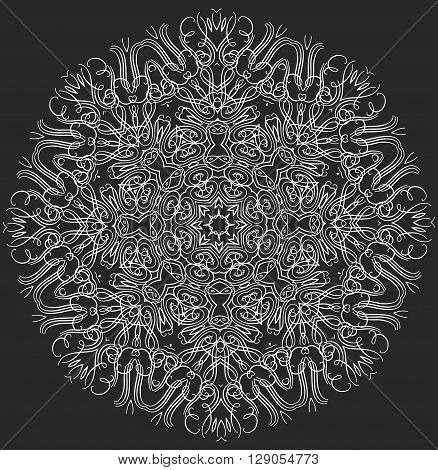 Mandala or snowflake for design, birthday mandala and other holiday mandala or snowflake, kaleidoscope mandala,  medallion mandala, yoga, india, arabic mandala. Geometric circle mandala or snowflake element