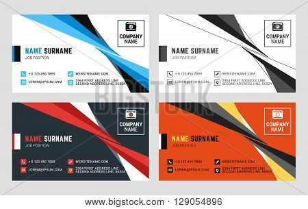 Business Card Vector Template. Flat Style Vector Illustration. Stationery Design. 4 Color Combinatio