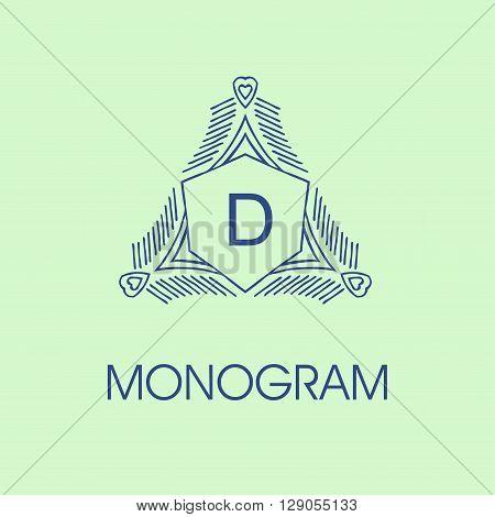 elegant monogram design D. Vector  linear frame and monogram illustration. Trendy linear monogram and linear frame. Monogram