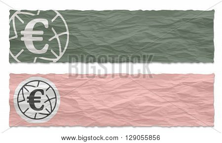 Two colored banners of crumpled paper with euro icon