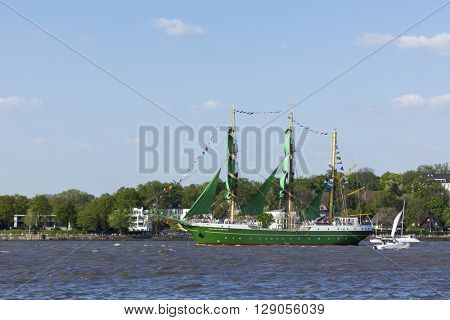 Hamburg, Germany - May 8, 2016: German sailing ship Alexander von Humboldt II on the Elbe river during departure parade of 827th Hamburg Port Anniversary