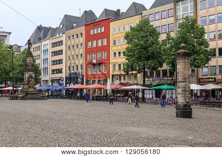 Cologne, Germany - May 16: This is the historic center of Cologne - Alter Markt Square May 16, 2013 in Cologne, Germany.