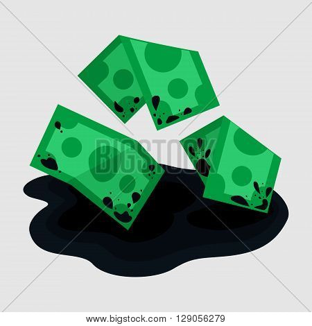 Dirty rumpled oil money in fuel puddle mud flat color icon, cartoon vector illustration of grime money finance