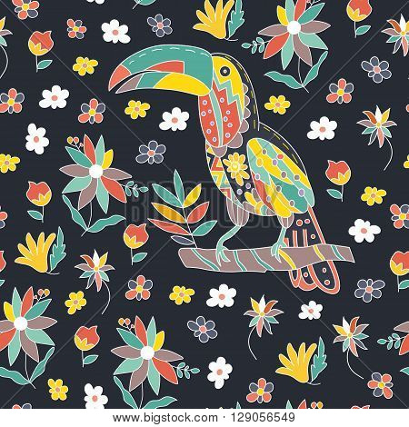 Seamless pattern with bird and flowers. Toucan sitting on a branch. Vector illustration.