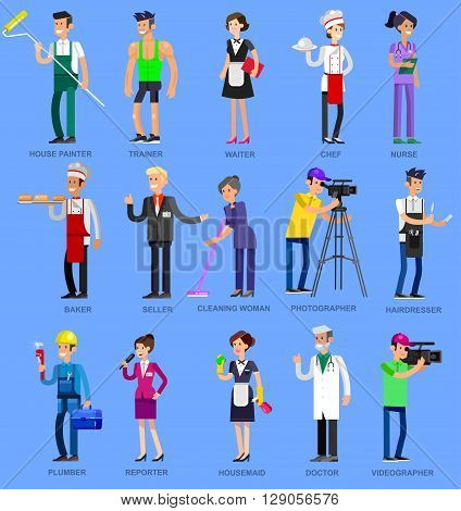 Profession people. Detailed character professionals . Illustration of character Profession people. Vector flat Profession people