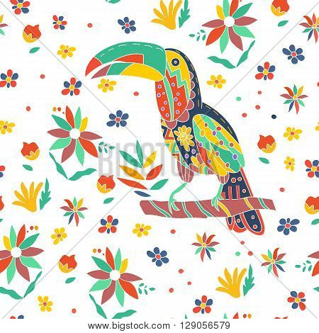 Seamless summer tropical pattern with bird and flowers. Toucan sitting on a branch. Vector illustration.