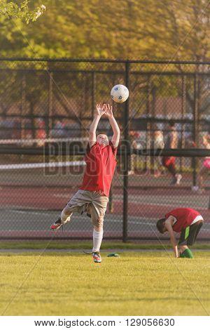 Morton Grove, IL, USA - 05.06.2106. Youth Soccer Practice, Morton Grove Park Team took place in Morton Grove, IL on 05.06.2016