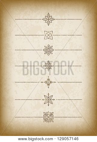 A Set Of Cracked Old-style Dividers On A Noble Old Paper Background