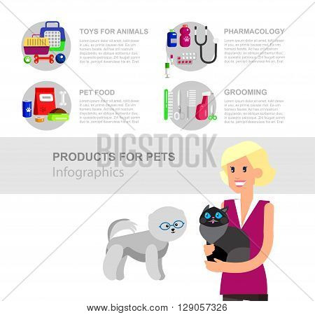 Infographic product for pets and veterinary, high quality character design veterinarian with cat, pet shop. Pets accessories and vet store, grooming tools, veterinary pharmacy