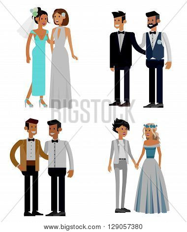 Nontraditional family. Happy cute wedding gay and lesbian homosexual couple. Cool gay wedding character flat illustration. Vector gay wedding. Gay wedding