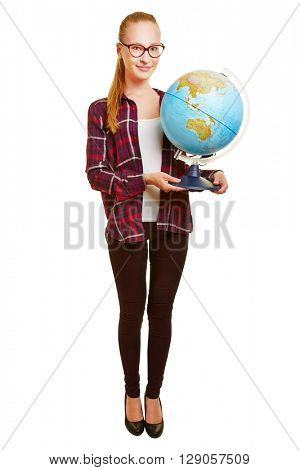 Full body shot of female teacher carrying a globe isolated on a white background