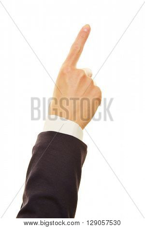 Hand of a businesswoman pointing up with the index finger