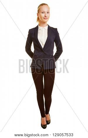 Front view of young blonde business woman as full body shot isolated on white background