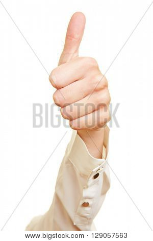 Business woman holding her thumb up into the air