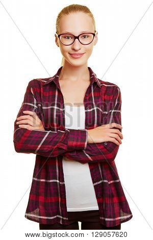 Attractive female student with horn-rimmed glasses and her arms crossed