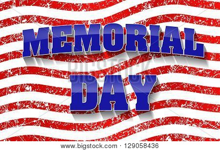 Memorial Day Design With Grunge Red Stipes Background.