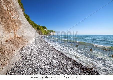 Beach And Chalk Cliffs On The Rugen Island.
