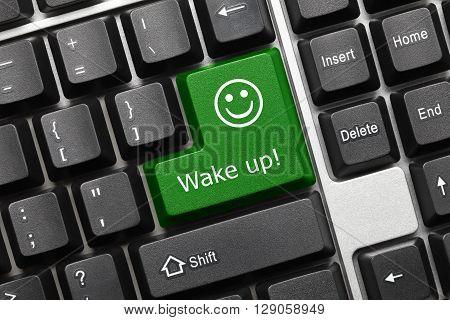 Conceptual Keyboard - Wake Up (green Key With Smiley Symbol)