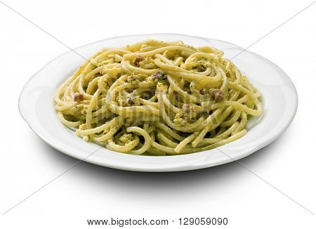 plate of carbonara spaghetti, italian first courses