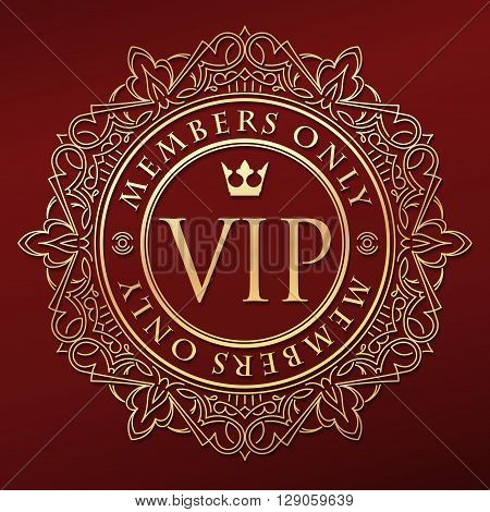 Rich Decorate Gold Vip Decor With Unusual Stylish  Ornate  Round Frame, Caption Members Only And Cro