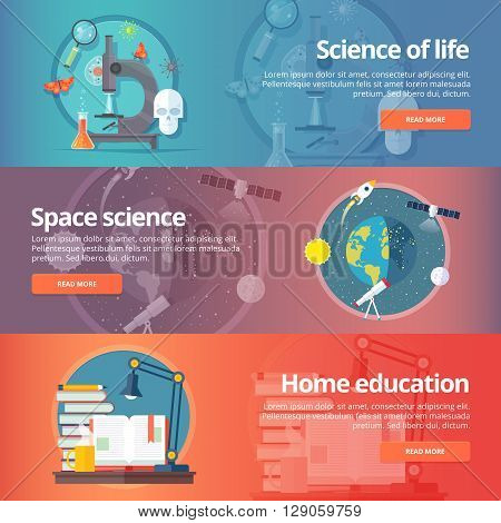 Science of life. Biology. Astronomy. Science of space. Earth in galaxy. Home education. Self education. Reading books. Education and science banners set. Vector design concept.