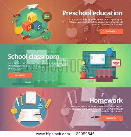 Preschool education. Kindergarten. Childhood. School classroom. Homework making. Education and science banners set. Vector design concept.