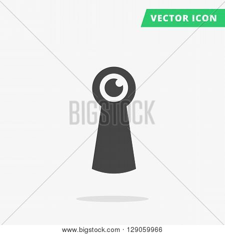 Keyhole flat vector icon, black silhouette keyhole sign, hole for key with eye pupil spy sign, line shape keyhole icon