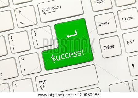 White Conceptual Keyboard - Success (green Key With Dollar Symbol)