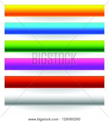 Horizontal Banner, Button Templates In 6 Colors With Bigger Shadow