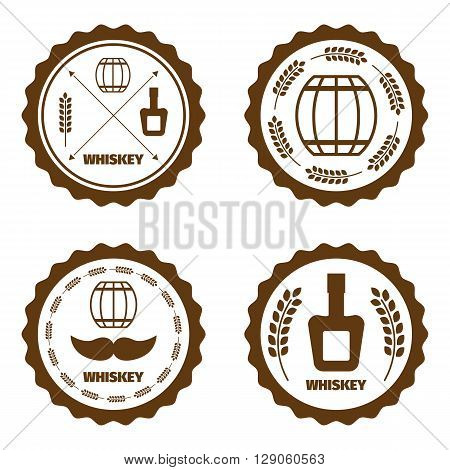 Single barrel whiskey icons. Print barrel of whiskey.