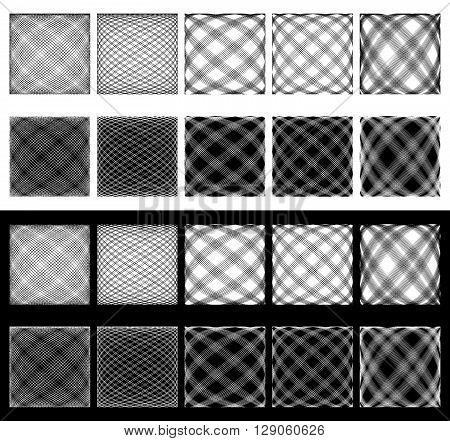 Set Of Irregular Grids, Meshes. Intersecting Lines With Spherical Distortions. Abstract Monochromati