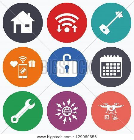 Wifi, mobile payments and drones icons. Home key icon. Wrench service tool symbol. Locker sign. Main page web navigation. Calendar symbol.