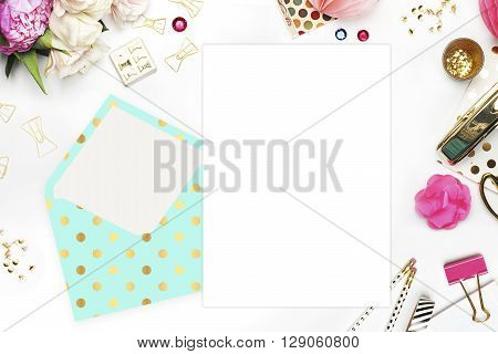 Flat lay. White background. Woman desktop template card Mock up for your photo or text Place your work. Peonies and gold stationery. Gold Polka. Header website or Hero website