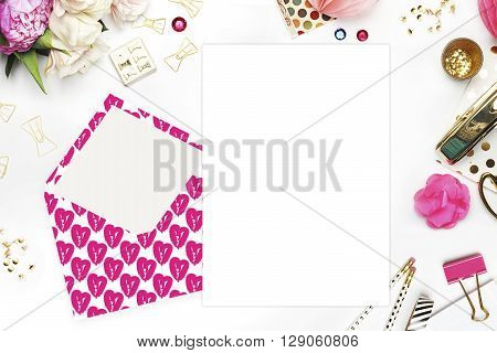 Flat lay. White background. Woman desktop, template card, Mock up for your photo or text Place your work. Peonies and gold stationery. Gold Polka. Header website or Hero website