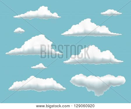 collection of clouds in summer blue sky set of volumetric clouds on blue background set of cartoon clouds