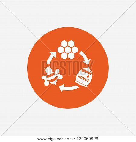 Producing honey and beeswax sign icon. Honeycomb cells symbol. Honey in pot. Sweet natural food cycle in nature. Orange circle button with icon. Vector