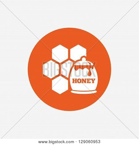 Honey in pot and honeycomb sign icon. Honey cells symbol. Sweet natural food. Orange circle button with icon. Vector