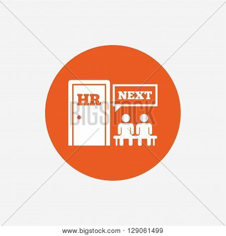 Human resources sign icon. Queue at the HR door symbol. Workforce of business organization. Orange circle button with icon. Vector