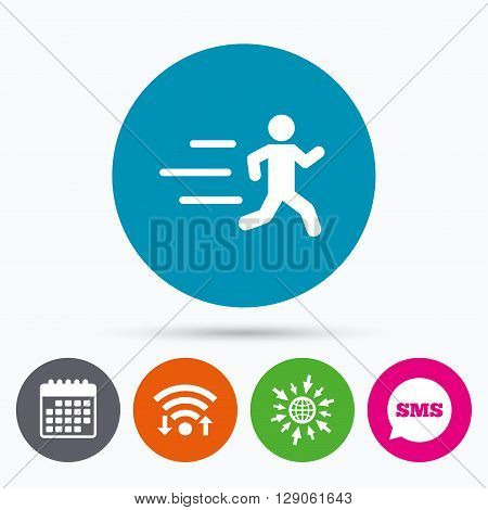 Wifi, Sms and calendar icons. Running sign icon. Human sport symbol. Go to web globe.