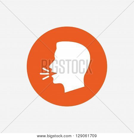 Talk or speak icon. Loud noise symbol. Human talking sign. Orange circle button with icon. Vector