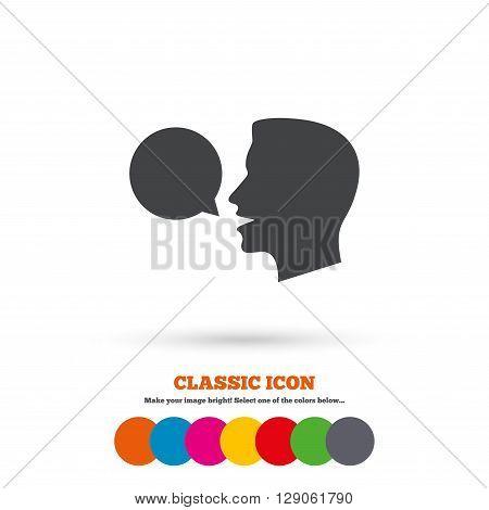 Talk or speak icon. Speech bubble symbol. Human talking sign. Classic flat icon. Colored circles.