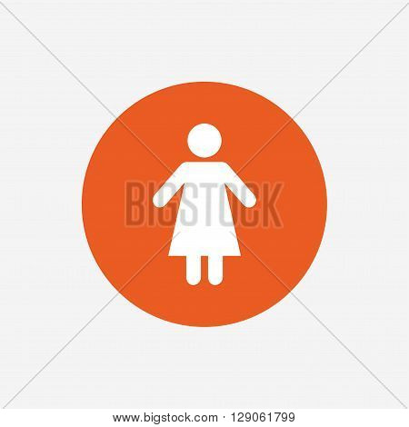 Female sign icon. Woman human symbol. Women toilet. Orange circle button with icon. Vector