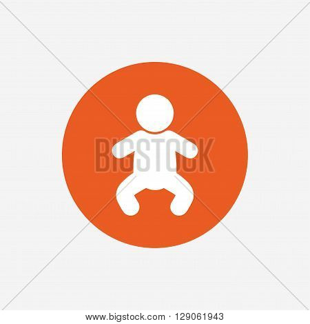 Baby infant sign icon. Toddler boy in pajamas or crawlers body symbol. Child WC toilet. Orange circle button with icon. Vector