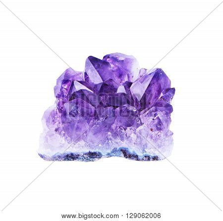 crystal amethyst and white background. Isolated object
