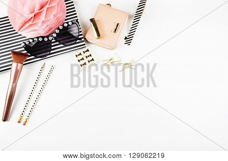 Desktop woman fashion | Styled stock photography | Modern woman desk | Makeup | Woman background | Flat lay