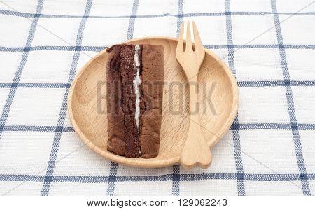 chiffon cake on wood plate ready to serve