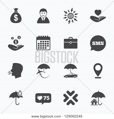 Calendar, go to web and like counter. Insurance icons. Life, Real estate and House signs. Saving money, vehicle and umbrella symbols. Sms speech bubble, talk symbols.