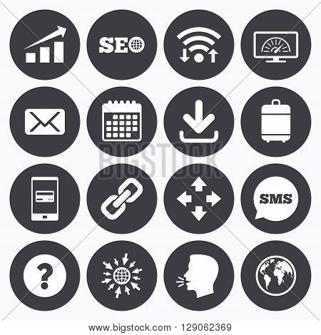 Wifi, calendar and mobile payments. Internet, seo icons. Bandwidth speed, download arrow and mail signs. Hyperlink, monitoring symbols. Sms speech bubble, go to web symbols.